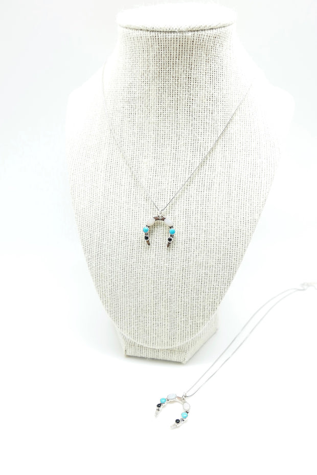 Lucky Horseshoe Turquoise, Opal and Onyx Necklace