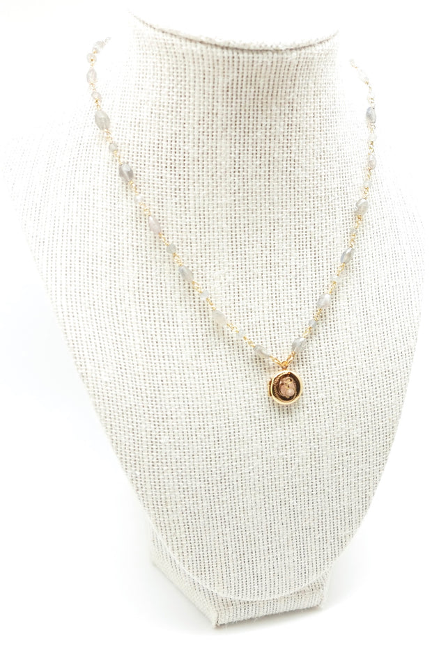 Labradorite Golden Locket Necklace
