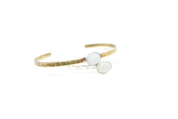Opal Everyday Cuff, Silver or Brass