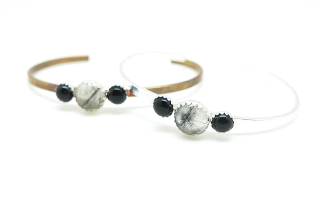 Tourmalated Quartz and Onyx Everyday Cuff