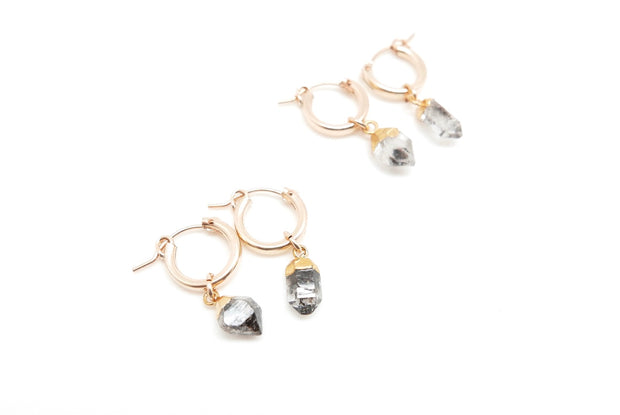 Herkimer Diamond Huggy Hoops