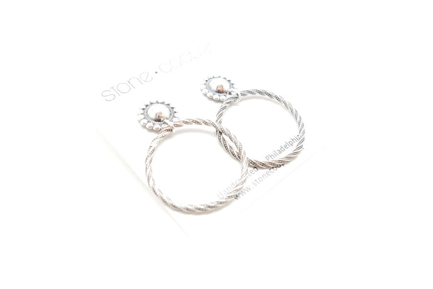 Beaded Conch Mini Stud-hoops
