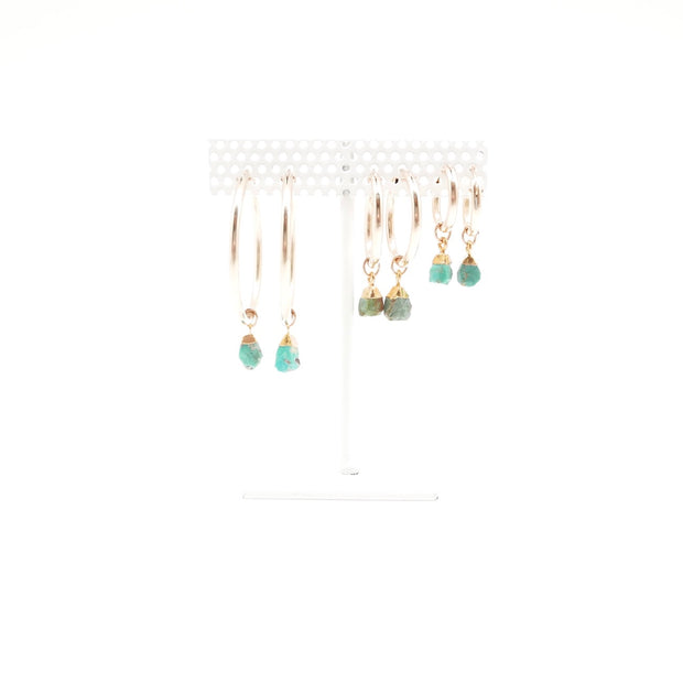 Rough Turquoise Gold-filled Hoops