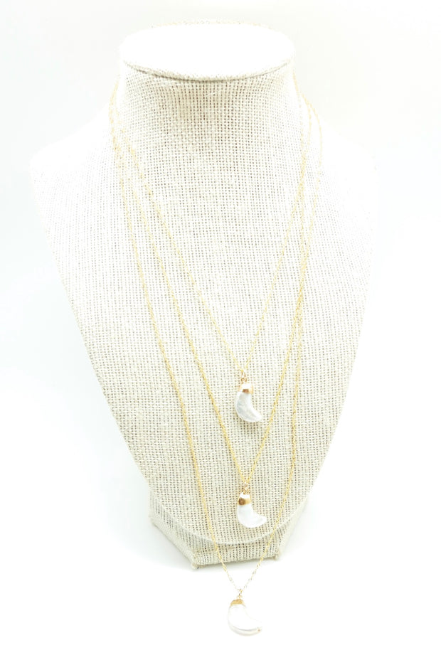 Pearly Gold Moon Necklace