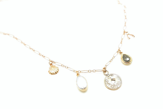 Gold Coin Power Charm Necklace