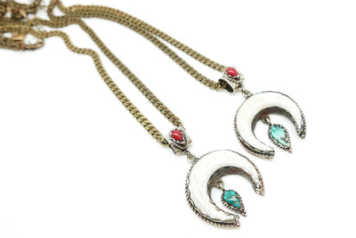 The Riley Turquoise and Bone Moon Necklace