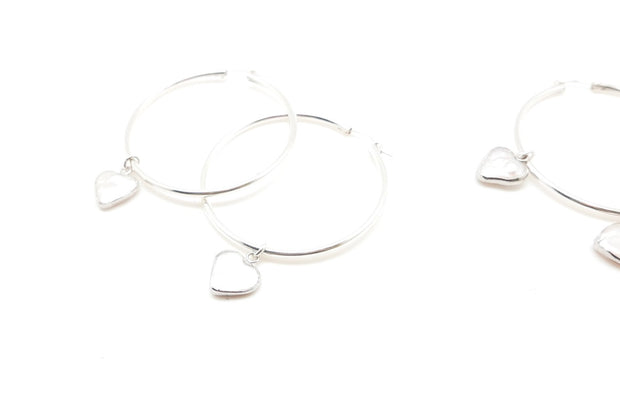 X-large Silver Pearl Heart Hoops