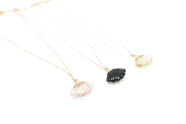 Gold-filled Gemstone Fan Necklace (3 Gems Available)