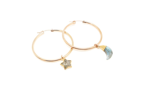 Labradorite Star and Moon Gold Hoops
