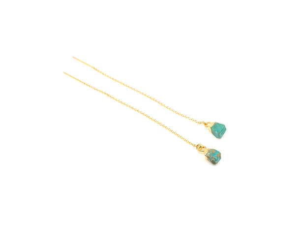 Cleo Rough Turquoise Gold Ear Threader