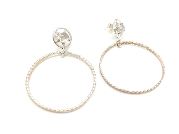 Lonestar Moonstone Stud-Hoops