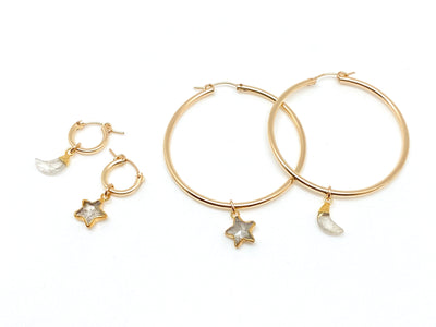 Golden Rutile Star/Moon Hoops (XS & XL)