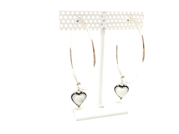 XL Silver Howlite Heart Hoops