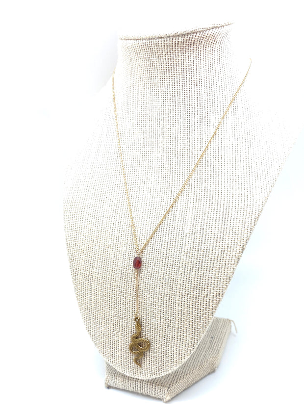 Gold Garnet Serpent Lariat