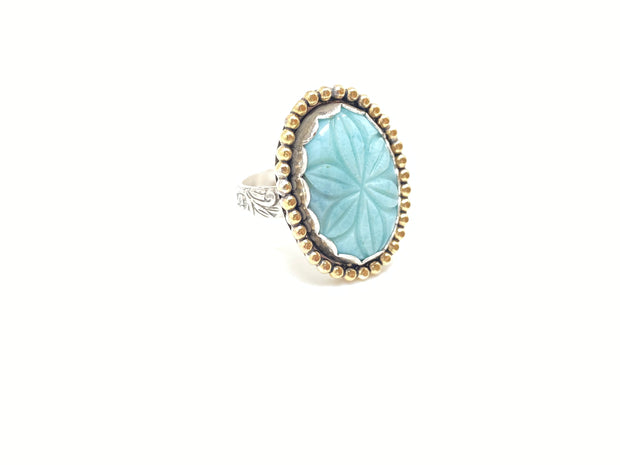 Larimar Flower Ring (7 3/4)