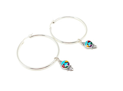 Silver Inlaid Hoops