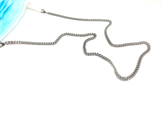 Curb-chain Mask Chain (Silver or Antiqued Brass)