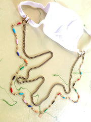 Enameled Mask Chain (Rainbow, Turquoise or Gray)