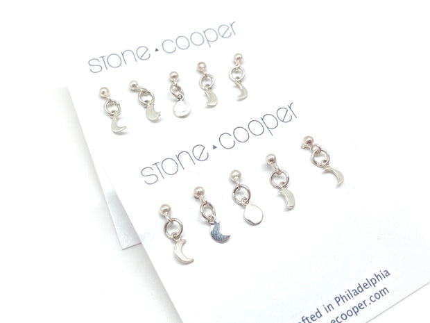 Moon Phase Stud Charm Set