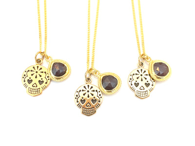 The Calavera Muerte Necklace - Gold