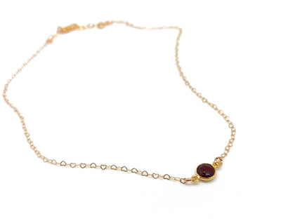 Barely-There Gold Heart Necklace - Garnet