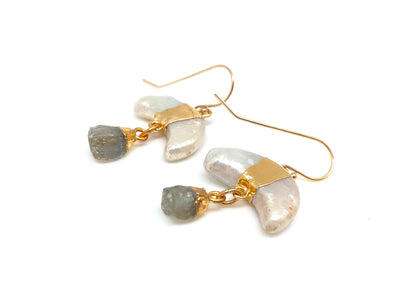 Lunar Pearl Pendulum Earrings