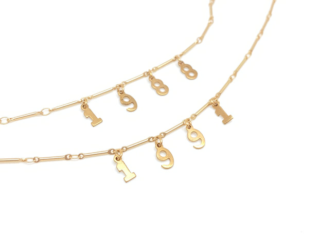 Custom Gold Number Necklace