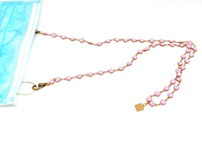 Evil-Eye Enameled Mask Chain (Pink & Navy)