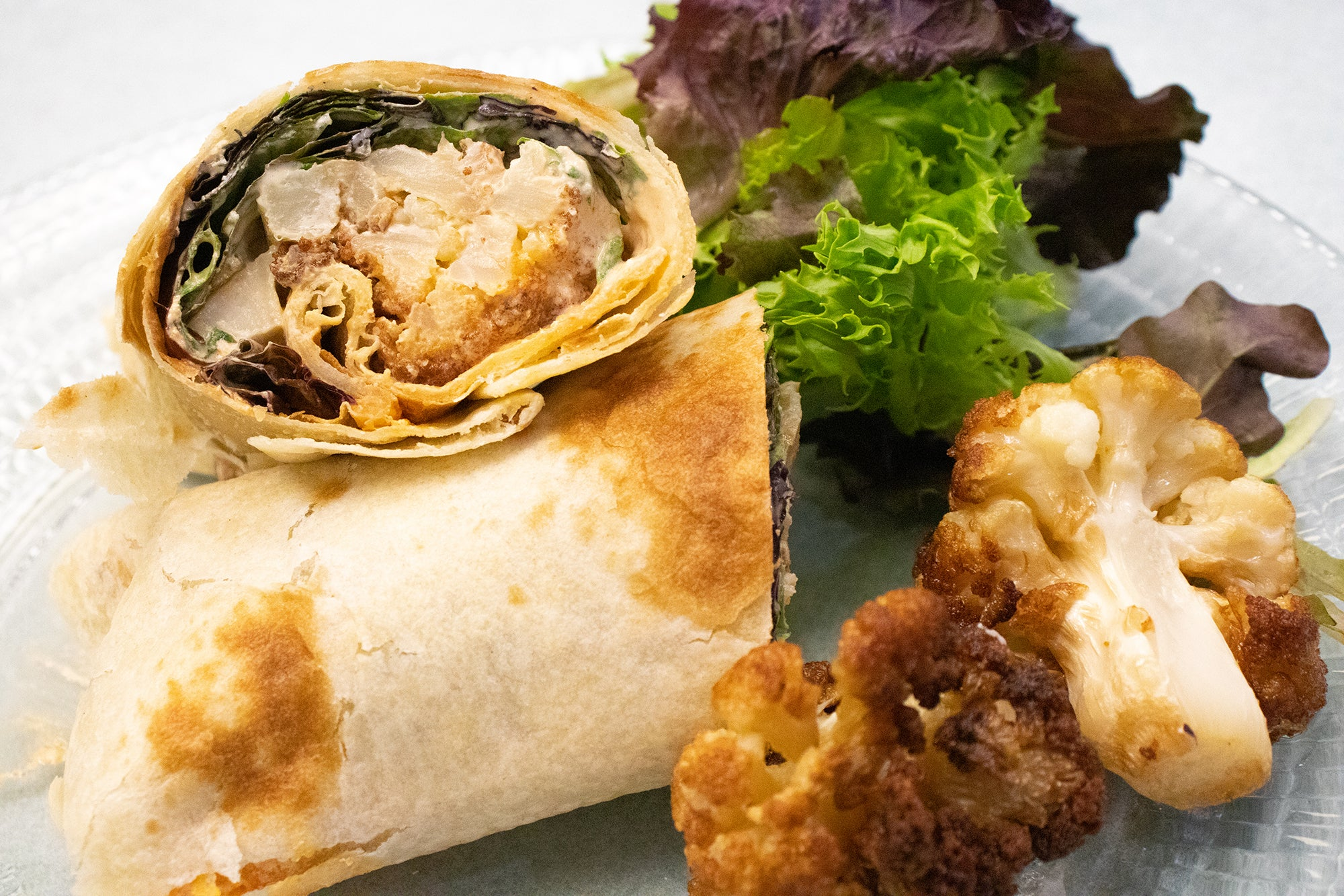 (Vegan/Veg.) Fried Cauliflower and Tahini Wrap