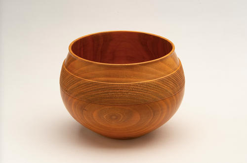 Linear Carved Bowl in Cherry Wood