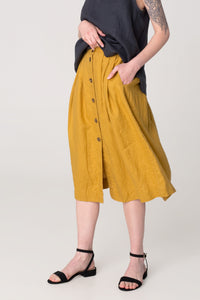 The Soulmate Store MARY Buttons Linen Skirt