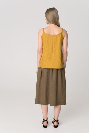 The Soulmate Store MARY Khaki Linen Skirt