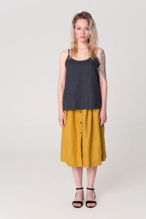 The Soulmate Store MARY Mustard Linen Skirt