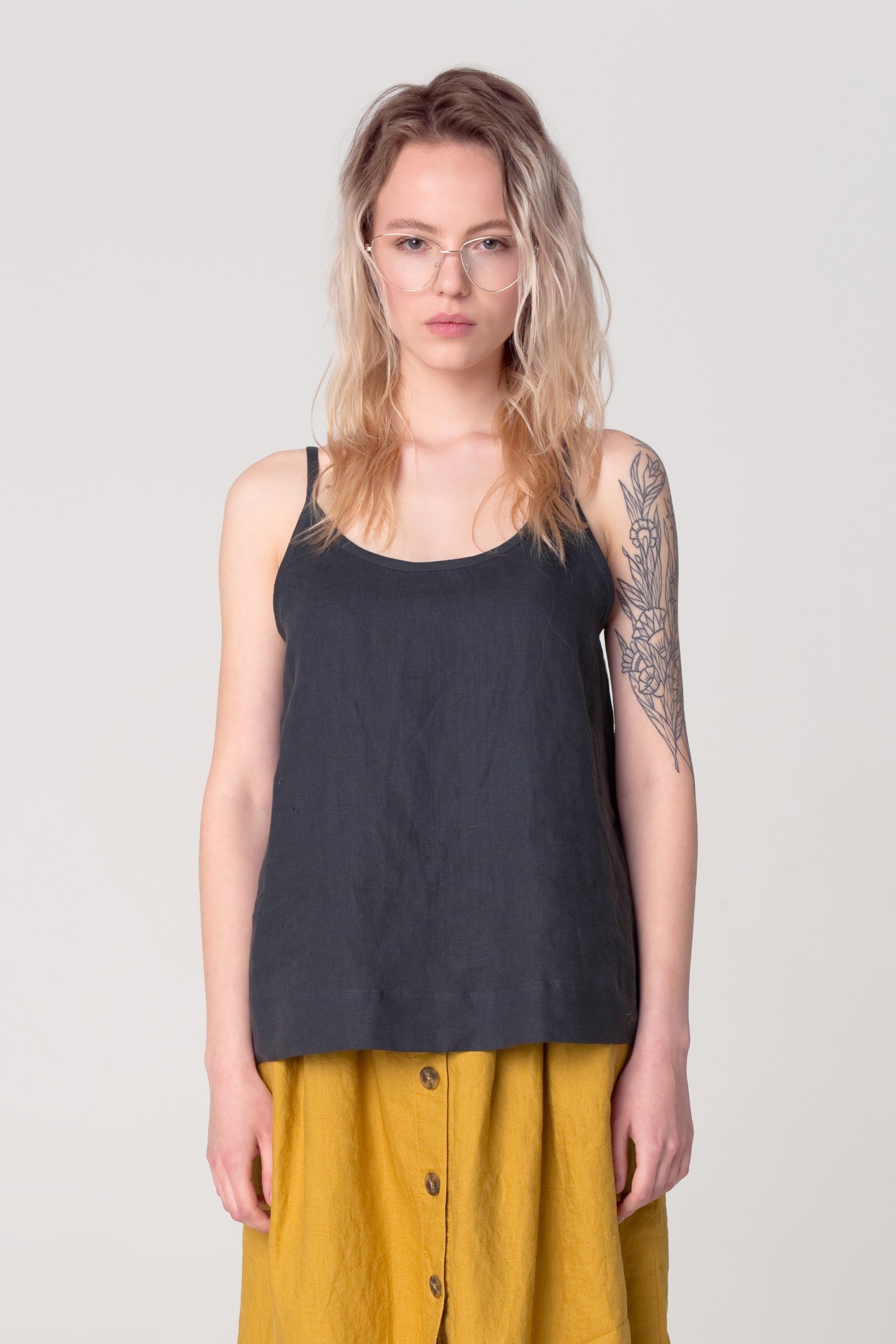 The Soulmate Store Black Linen Organic Top Fashion Linen Top Organic