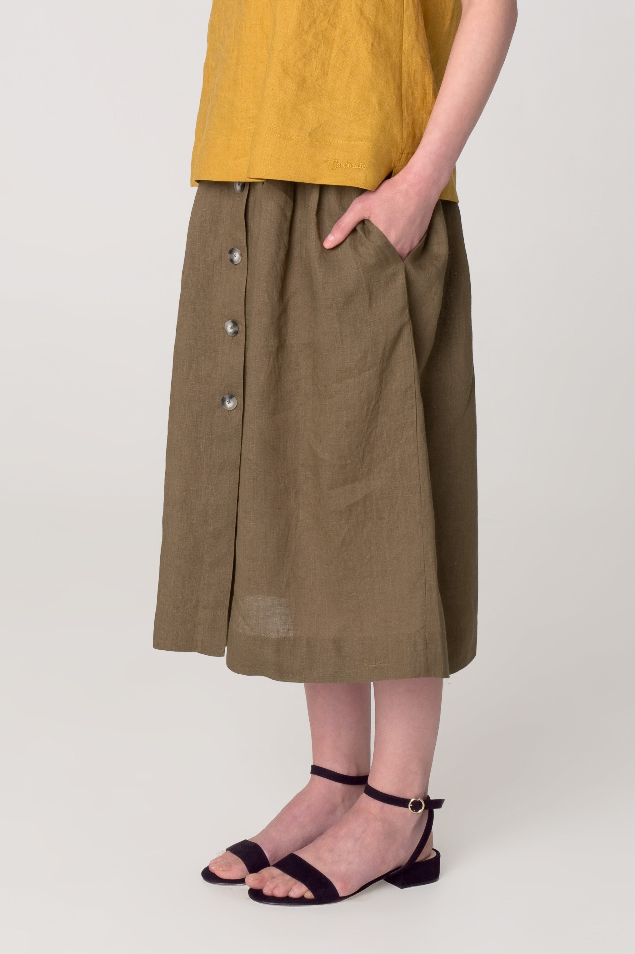 The Soulmate Store MARY Casual Linen Skirt with Pockets
