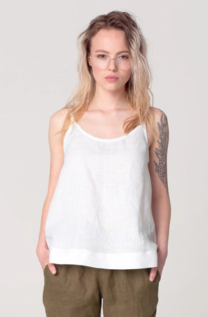 The Soulmate Store SASHA White Linen Top