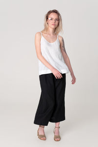 The Soulmate Store SASHA White Linen Organic Top Black Linen Pants
