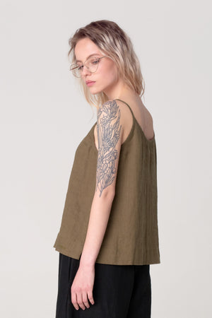 The Soulmate Store Khaki Green Linen Organic Top