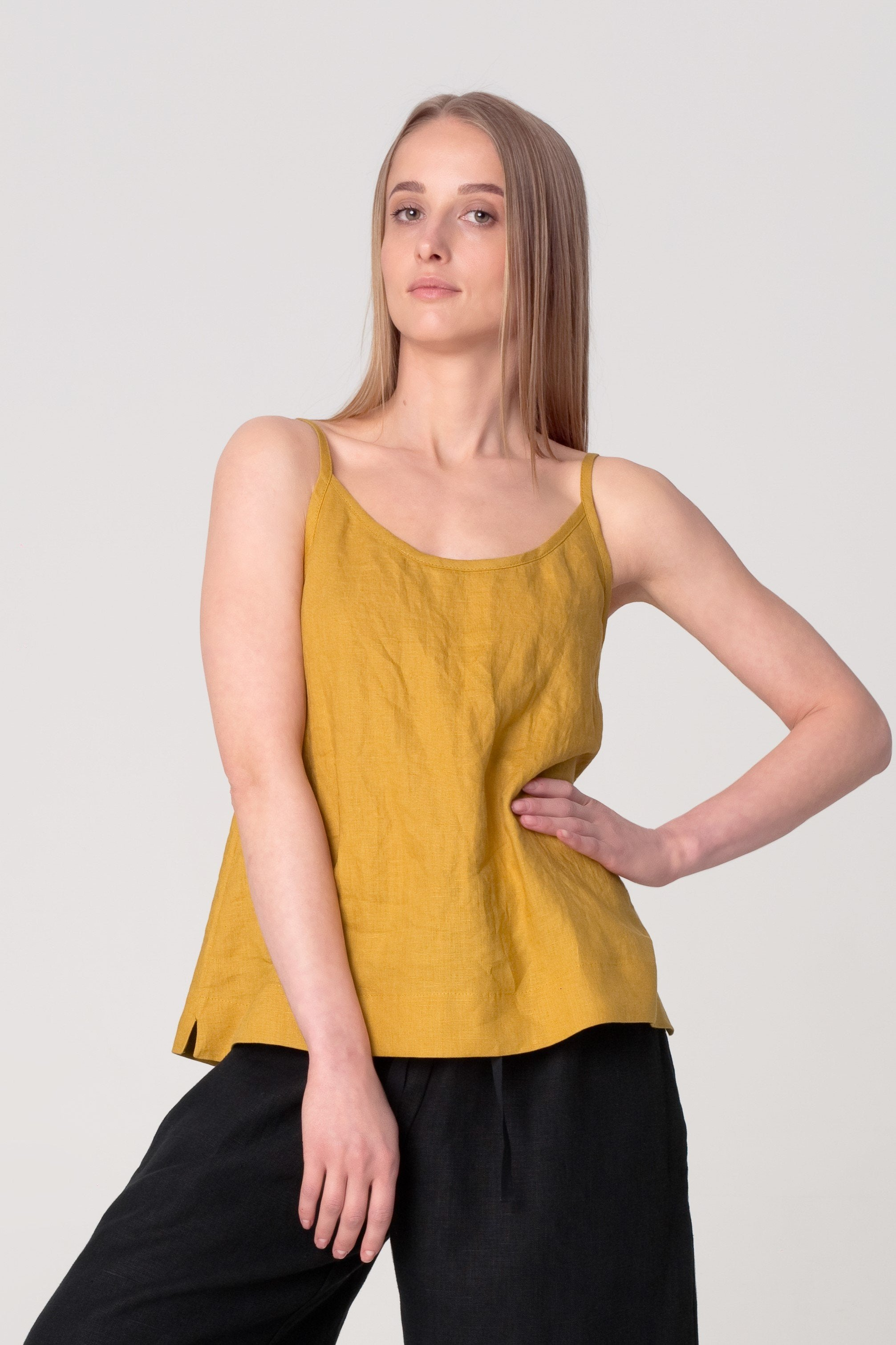 The Soulmate Store Mustard Yellow Linen Organic Top