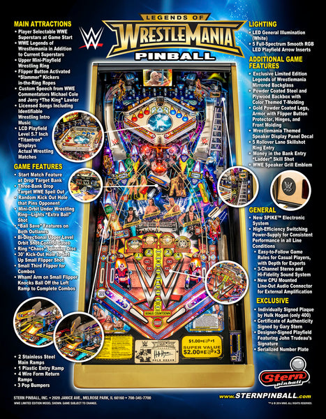 Legends Of Wrestlemania Limited Edition Pinball