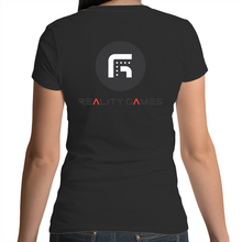 Load image into Gallery viewer, Reality Games AS Colour Mali - Womens Scoop Neck T-Shirt (Text Logo) - Reality Games Australia