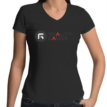 Load image into Gallery viewer, Reality Games AS Colour Bevel - Womens V-Neck T-Shirt (Limited Logo) - Reality Games Australia