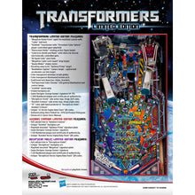 Load image into Gallery viewer, Transformers Limited Edition Combo Pinball Machine - Reality Games Australia