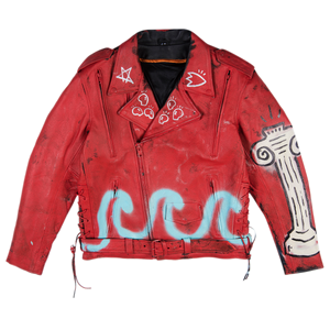 WAVE RED LEATHER JACKET - Real Buy