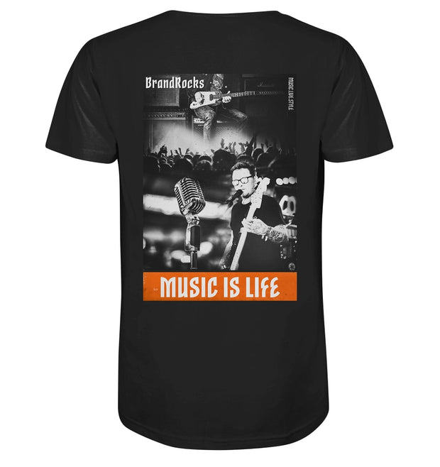 Rückseite Music Is Life T-Shirt in Schwarz