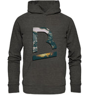 Vorderseite BrandRocks Collage Logo Hoodie in Dark Heather Grey