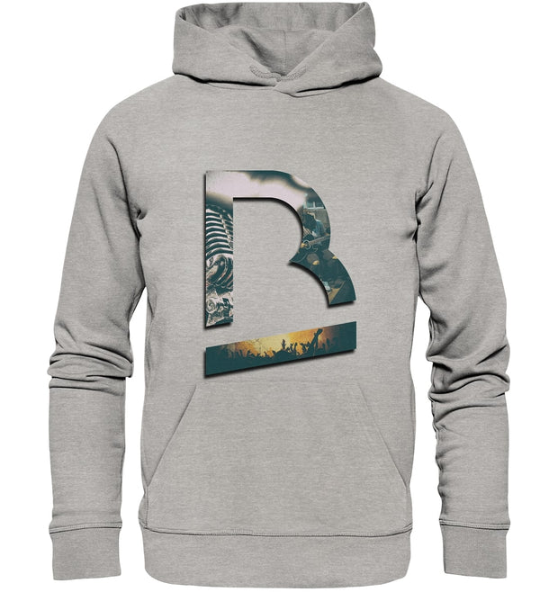 Vorderseite BrandRocks Collage Logo Hoodie in Heather Grey