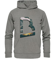 Vorderseite BrandRocks Collage Logo Hoodie in Mid Heather Grey