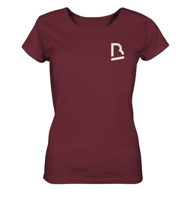 Vorderseite BrandRocks Logo T-Shirt für Damen in Burgundy