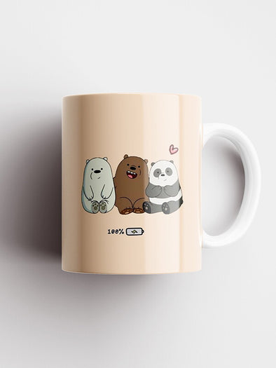 We Bare Bears 100% Charged Official Printed Ceramic Coffee and Tea Mug 325 ml